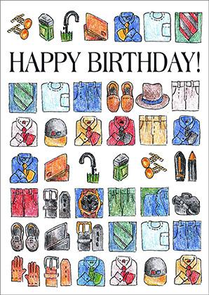 Happy Birthday Men Icons Wotacard